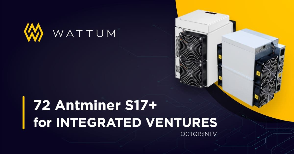 Integrated Ventures acquires another batch of 72 Antminer S17+ powered by Wattum Customized Asic Firmware.